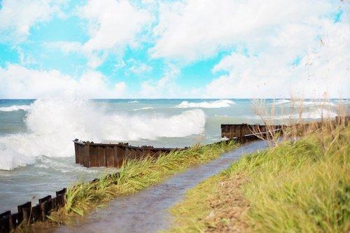 Waves Crashing on Lake Michigan