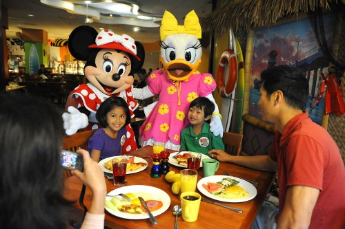 Dining with Disney characters.