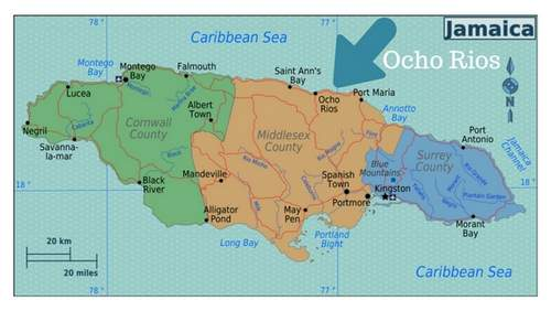 A map of Jamaica with an arrow pointing at Ocho Rios.